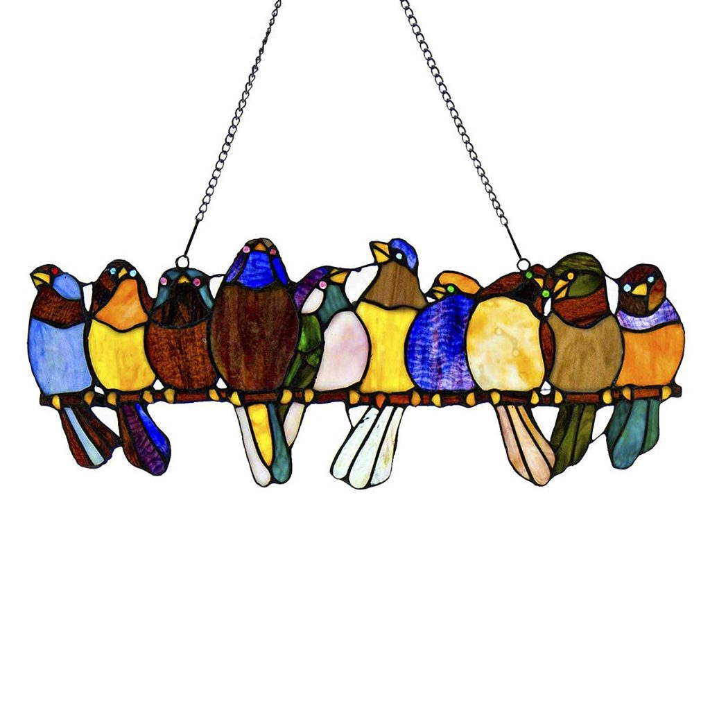 Stained Sun Catcher Glass Birds Wire Hanging